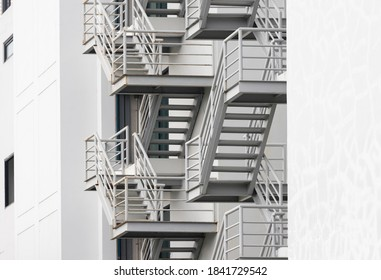 fire escape stair steel. grey outdoor metal stair of building.