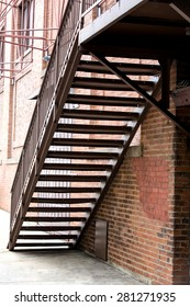 Fire escape stairs in an alley