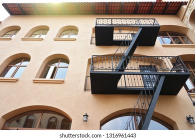 Fire Escape stairs on the building wall.