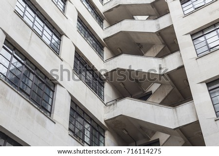 Fire Escape Stairs On The Exterior Of An Office Building, Southwark,  London, England