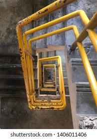 The fire escape that is extremely haphazard