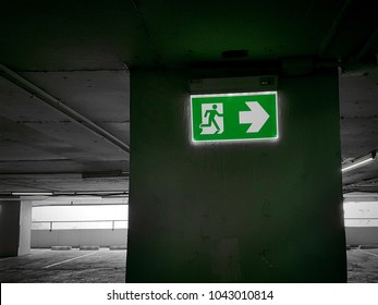 Fire exit light sign.