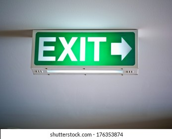 fire exit on green light box