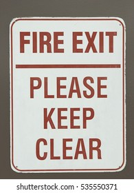 Fire exit - please keep clear sign