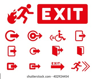 Fire Exit raster icon set. Style is red flat symbols isolated on a white background.