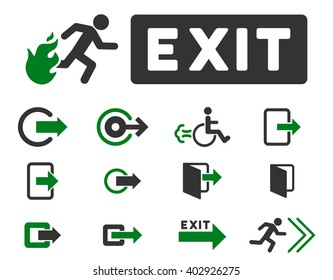 Fire Exit raster icon set. Style is bicolor green and gray flat symbols isolated on a white background.