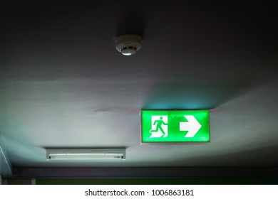 Fire exit sign and emergency exit door., Fire protection system.