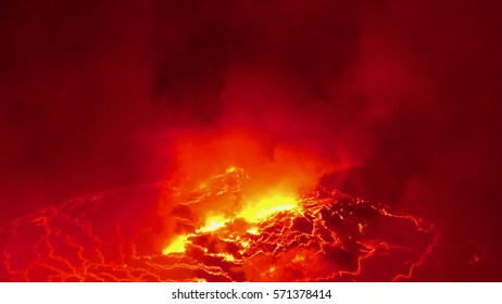 Fire, explosion and eruption Lava Lake, Nyiragongo, dr congo 2017