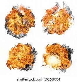 Fire explosions, isolated on white background