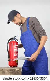 A Fire extinguisher check by a professional