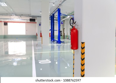 Fire extinguisher in factory work shop.