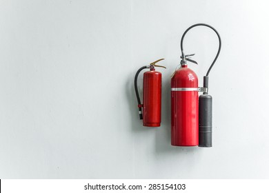 fire extinguisher hung on the wall