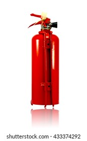 Fire extinguisher isolated on white background :a portable device that discharges a jet of water, foam, gas, or other material to extinguish a fire.