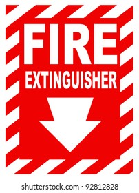 A fire extinguisher location sign for use in any safety inference.