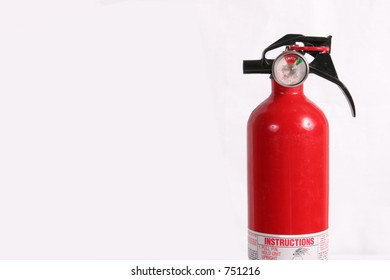 Fire extinguisher with room for text, horizontal and isolated