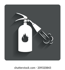 Fire extinguisher sign icon. Fire safety symbol. Gray flat button with shadow. Modern UI website navigation.