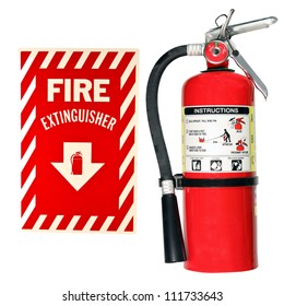 fire extinguisher and sign isolated over a white background