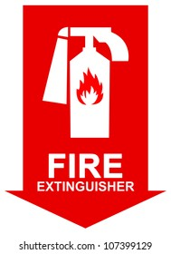 Fire Extinguisher Sign Present with White Fire Extinguisher on The Red Arrow Isolated on White Background