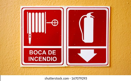 Fire extinguisher sign in Spanish