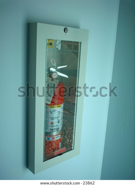 Fire extinguisher in a wall case