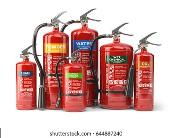 Fire extinguishers isolated on white background. Various types of extinguishers. 3d illustration.
