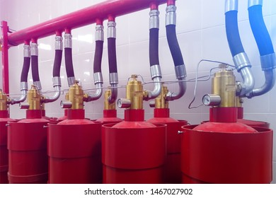 Fire extinguishing system. Red Cylinders. Toning