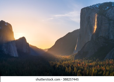 Fire fall and the Yosemite valley