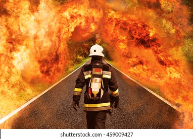 Fire fighter go to the forest for fighting with fire, Team work and operation with fire case and the mission should be successful, Fire fighter with suit and equipment for operation in fire case.