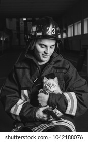 Fire fighter holding a kitten