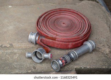 Fire fighter hose ready to use in the outdoor.