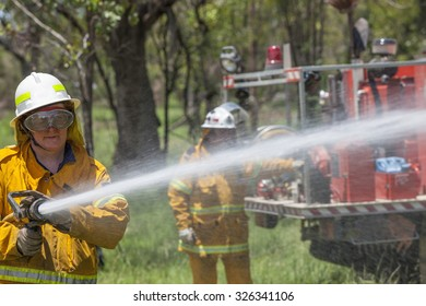Fire fighter in protective clothing