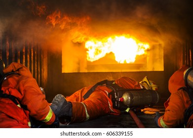 Fire fighter team work in training room