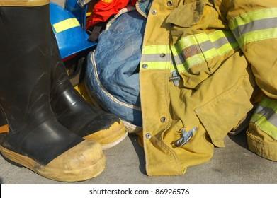 Fire fighter's equipment; Redlands Fire Department; Redlands, California