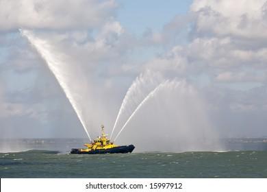 Fire Fighting Boat sprays water