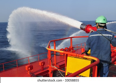 Fire fighting foam/water gun onboard of tanker ship