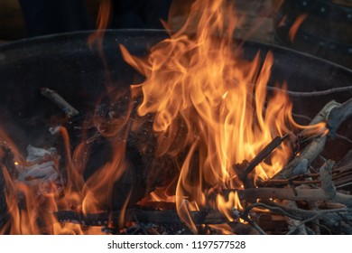 Fire in a firepit - keeping warm outdoors in the Spring chill.