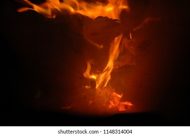 Fire in the fireplace, Costa Blanca, Spain