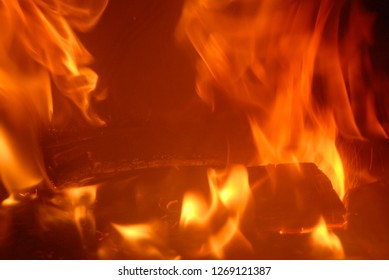 Fire in the fireplace, log fire, Costa Blanca, Spain