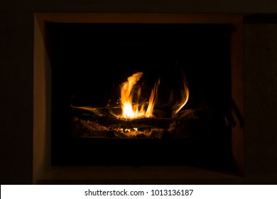 Fire in fireplace to warm up