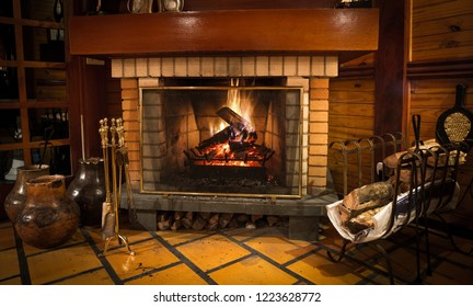 Fire in the fireplace to warm during winter