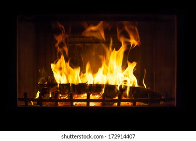 Fire in the fireplace in the winter