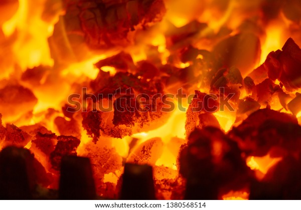 Fire Flame Burning Coal Wood Fireplace Stock Photo Edit Now