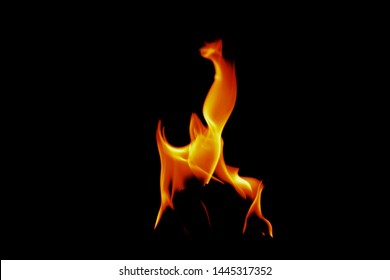 Fire flame isolated on black isolated background Beautiful yellow, orange and red and red blaze fire flame texture style, Fire flames collection isolated on black background