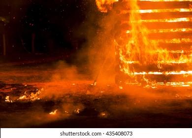 Fire flame smoke spark wood house orange France