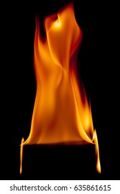 fire flames background  on a black