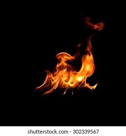 Fire flames  in black