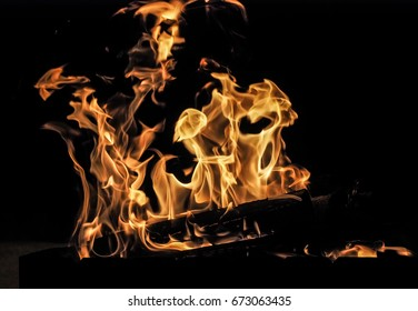 Fire flames. Black background.
