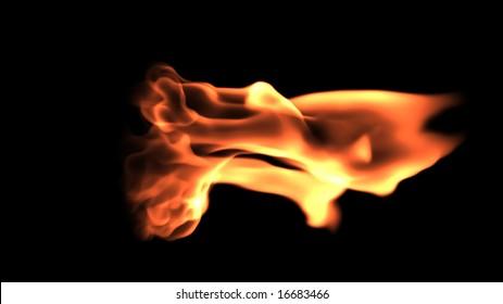 Fire flames close up against black,graphic design element
