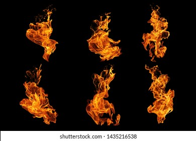 Fire flames collection isolated on black background, movement of fire flames abstract background