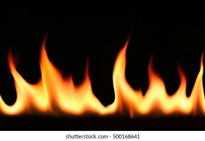 Fire, flames isolated in black background, or explosion.